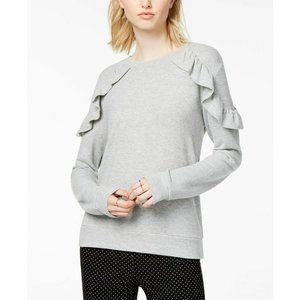 Maison Jules Sweaters - Maison Jules Heather Gray LS Ruffled Sweater